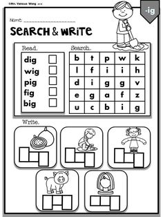 Phonics CVC Short Vowels -Search & Write (Kindergarten/First Grade) Jolly Phonics, Teaching Phonics, Kindergarten Worksheets, Kindergarten Classroom, Music Classroom, Phonics Worksheets, Phonics Activities, Comprehension Worksheets, Phonics Rules