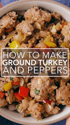 Ground Turkey and Peppers - - Ground Turkey and Peppers Simply Recipes Videos! The mother of ground turkey recipes, this family classic is quick and easy! Sautéed ground turkey with onions, garlic, bell peppers, and seasoned with chipotle chili. Healthy Turkey Recipes, Healthy Ground Turkey, Baked Meat Recipes, Ground Meat Recipes, Beef Recipes, Recipes Using Ground Turkey, Advocare Recipes, Recipes With Ground Turkey, Ground Beef