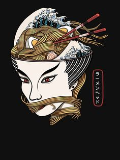 'The Ramen Queen' T-Shirt by Diardo Ramen, Best Anime Drawings, Game Wallpaper Iphone, Cool Stickers, Japan Art, Food Illustrations, Japanese Girl, Sell Your Art, Tshirt Colors