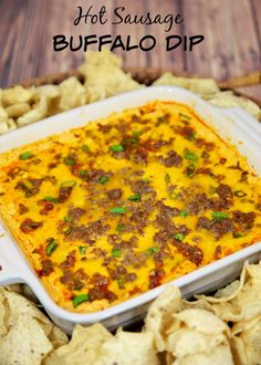 Hot Sausage Buffalo Dip - cream cheese, sausage, cheddar and buffalo sauce - I could make a meal out of this dip!