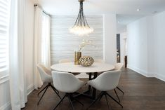 Property Brothers Remodel Dining Room The Property Brothers used a contemporary design style to remodel this dining room into a sophisticated eating area. At the center of this beautiful design is our Gambit Chandelier. Dining Room Design, Dining Room Furniture, Room Chairs, Furniture Ideas, Property Brothers Designs, Property Brothers Kitchen, Modern Dining Room Lighting, Small Dining, Decoration
