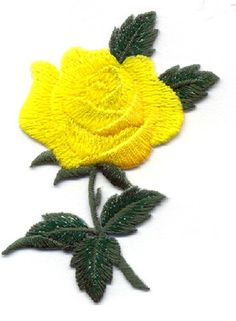 ROSE - YELLOW ROSE EMBROIDERED/SHIMMERY ROSE IRON ON APPLIQUE