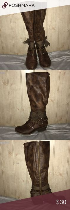 Not rated brown pleather boots Brown pleather. Worn once. Cowboy knee high boots from dry goods Not Rated Shoes Heeled Boots