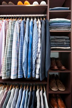 Neat Method San Diego SaveEmail Design idea: Double up on hanging rods and make room for narrow shelving.  Why: Having enough room to hang your crisp shirts is a must, but using a sliver of extra closet space for a tall, narrow shelving unit can be worth sacrificing a bit of hanging space — shoes, jeans and sweaters can all fit on shelves 12 to 16 inches wide (measure your belongings to see what size you need).