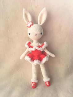 Meet Ice Skater Bunny Charlotte III ! She loves to ice skate and practice pirouettes every day ... Two versions available: in red and light blue She is 12 tall (from tips of ears to toes), 9.5 from head to toes Yarns: - cotton -acrylic Stuffing: -100% polyester filling