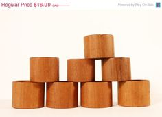 Teak Napkin Rings Vintage Teak Napkin Holders Handmade Solid Wood Excellent…