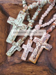 Clay Garden Rosary Beads Front Door Decor, Wreaths For Front Door, Door Wreaths, Lambs Ear, Beaded Cross, Rosary Beads, Home Projects, Farmhouse Decor, Gifts For Her