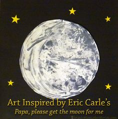 "Art Inspired by Eric Carle's ""Papa, please get the moon for me""  Celebrating Eric Carle's birthday with a fabulous link party of Eric Carle themed posts!"