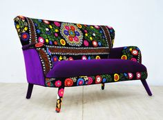 Suzani 2 seater sofa purple sun por namedesignstudio en Etsy