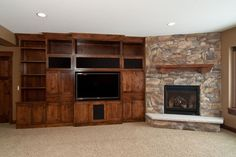 corner fireplace with builtins ideas | Corner fireplace and built ins