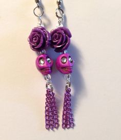 Sugar Skull Earrings Day of the Dead Costume Dia de Los Sugar Skull Jewelry, Sugar Skull Earrings, Punk Earrings, Beaded Earrings, Earrings Handmade, Handmade Jewelry, Halloween Earrings, Halloween Jewelry, Holiday Jewelry