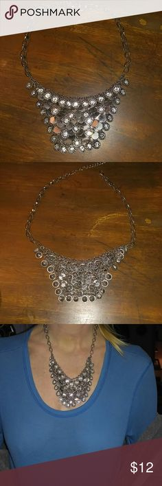 """Beautiful, Lady's, Necklace Costume jewelry for the perfect evening out!! Clusters of bling and silver circles make this beautiful necklace stand out!  Adjustable chain. Measures a little over 20""""L. Firm price Jewelry Necklaces"""