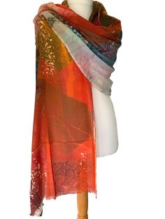 Soft and lightweight Modal / Cashmere blend scarf / wrap 93 Modal 7 Cashmere The fabric falls and drapes beautifully very versatile as can be worn in Pashmina Wrap, Orange Scarf, Tree Patterns, Abstract Styles, Free Uk, Fair Trade, Different Styles, Scarf Wrap, Tie Dye Skirt