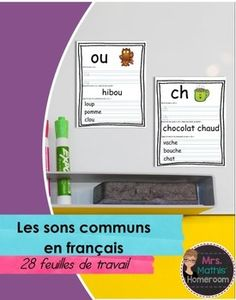 Les sons - Feuilles de travail (Worksheets for Common Sounds in French) French Worksheets, Gn, Alphabet Games, French Resources, French Immersion, French Lessons, Activity Sheets, Teacher Newsletter, Voici