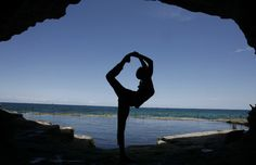 Standing Bow Pose in a Cave » Yoga Pose Weekly