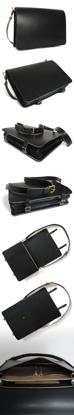 full-grain leather black messenger/briefcase bag. New from #basader