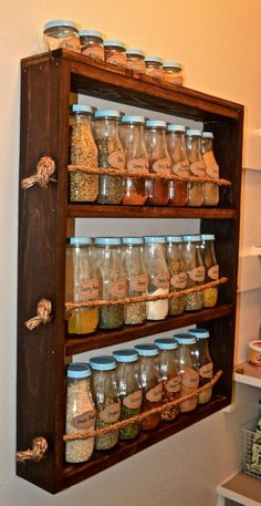 Rustic Wooden Spice Rack – rustic home diy Spice Rack Rustic, Wooden Spice Rack, Diy Spice Rack, Spice Shelf, Pallet Spice Rack, Spice Rack Made From Pallets, Build A Spice Rack, Kitchen Decorating, Diy Kitchen Storage