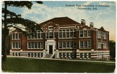 Peabody Hall, University of Arkansas, unknown date. G4911  Built in 1913, Peabody Hall is on the National Register of Historic Places.