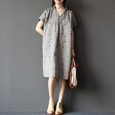 Gery con lindo punto cuello V vestido de lino lino por Vivianzakka