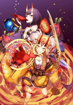 Shuten And Ibaraki Anime Art Girl, Manga Art, Manga Anime, Anime Girls, Fate Stay Night Series, Gilgamesh Fate, Ibaraki, Fate Servants, Fate Anime Series