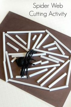 Spider web cutting activity for preschoolers. A scissor skills activity with straws and contact paper web cutting activity for preschoolers. A scissor skills activity with straws and contact paper. Bug Activities, Cutting Activities, Art Therapy Activities, Autumn Activities, Creative Activities, Incy Wincy Spider Activities, Classroom Activities, Creative Ideas, Fall Preschool