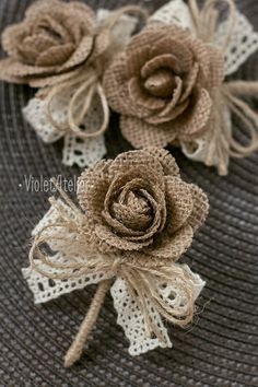 3 pcs Groom Groomsmen Rustic Boutonnieres, Burlap Rose Men Boutonnieres, Burlap Lace Buttonhole, Fathers Wedding Boutonniere - This listing is for 3 burlap rose lace ribbon Groom and Groomsmen wedding boutonnieres. Burlap Roses, Burlap Lace, Lace Ribbon, Hessian, Burlap Flowers Wedding, Burlap Wedding Decorations, Jute Flowers, Diy Flowers, Fabric Flowers