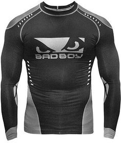 BAD BOY SPHERE COMPRESSION RASH GUARD - BLACK/GREY - NOGI JIU JITSU MMA JUDO SUBMISSION WRESTLING This Sphere Compression Top was designed by BAD BOY to be worn for grappling competitors of BJJ and MM