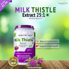 Support your liver health with HealthyHey Milk Thistle extract. Get your pack of natural antioxidant now at Rs. 799 Only . Milk Thistle Extract, Fish Oil, Nutritional Supplements, Collagen, Natural Health, Vegetables, Healthy, Veggies, Vegetable Recipes