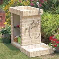 Outdoor Toilet, Outdoor Sinks, Garden Sink, Water Garden, India Home Decor, Diy Furniture Decor, Mediterranean Style Homes, Water Features In The Garden, Concrete Garden