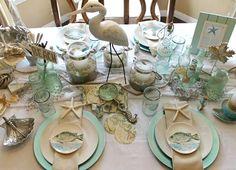 Elegant Beach Table Idea in a White, Seafoam & Sand Color Palette