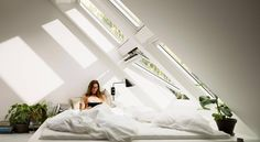 Fill your home with light by installing a Velux or Fakro roof window. Rustic Master Bedroom, Small Room Bedroom, Bedroom Ideas, Dream House Interior, Dream Home Design, Mansion Kitchen, Roof Window, Bedroom Floor Plans, Storey Homes