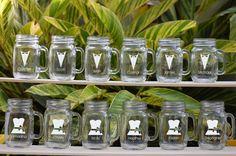 12 Personalized Beer Mug, Engraved Mason Jar Glasses with Handle, Wedding Party Gifts, Groomsmen Tuxedo, Bridesmaids Dress, Glassware via Etsy