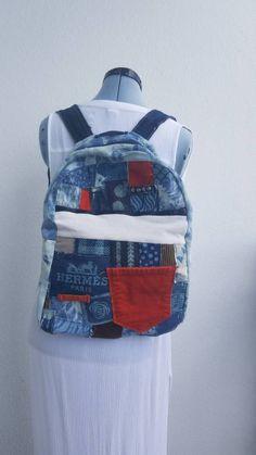 9b0670445e2d Denim and corduroy with tie dye custom bleach Backpack boho jean pockets  Hermes logo One of a kind backpack bag
