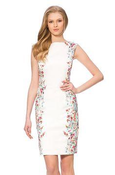 Ołówkowa sukienka z kwiatowym nadrukiem