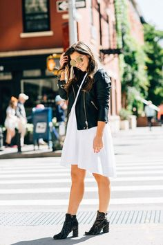 The Role Fashion Plays When It Comes To Confidence by New York fashion   blogger Pink Champagne Problems // White dress with leather jacket and   booties, casual look
