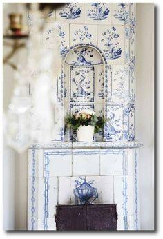 Blue and White Swedish Tiled Stove