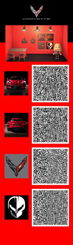 Red hot 2020 Corvette posters. See our #AnimalCrossing Pins to complete the theme.   Scan each QR Code with your Nintendo Switch Online app on your mobile device. You'll need to have a basic understanding how to download and access items in Animal Crossing. If you've never done this, we suggest some research prior to scanning the QR Codes. Some tips if you're having trouble: enlarge the picture, adjust the brightness on your monitor or download the image to your computer prior to scanning. Airsoft Guns, Qr Codes, Animal Crossing, Corvette, Nintendo Switch, Monitor, Chevrolet, Coding, Posters