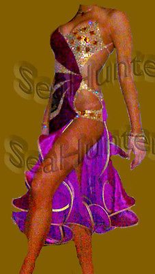 Ballroom Ramba Latin Cha Cha Samba Dance Dress US 8 UK 10 Two Purple Gold Color