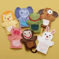Kids' Imaginary Play: Kids Multi Colored Animal Hand Puppets these are from crate and barrel, but I think I could make these. Felt Puppets, Felt Finger Puppets, Baby Crafts, Felt Crafts, Sewing For Kids, Diy For Kids, Animal Hand Puppets, Puppet Patterns, Operation Christmas Child