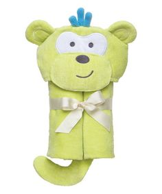 Look at this #zulilyfind! Green Monkey Baby Bath Wrap by Elegant Baby #zulilyfinds