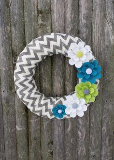 Spring Wreath, Chevron Burlap Wreath with Teal, White and Lime Green Burlap Flowers  Kirklands is selling burlap ribbon....