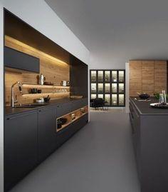 900 cuisine noire et bois ideas