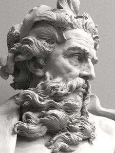 Bust of Neptune. Sculpture by Lambert-Sigisbert Adam (1700-1759).