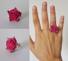 deep pink paper rose ring