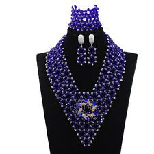Handmade Royal Blue Crystal Nigerian Wedding Necklace African Beads Jewelry Sets See more details..