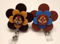 Disney's Chip & Dale Badge holders made from medication flip off caps