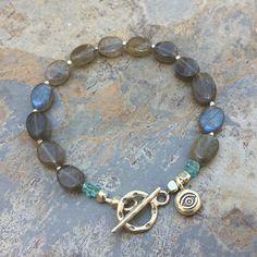 Labradorite Bracelet, labradorite Bracelet with Apatite and Hill Tribe Silver, choose your size