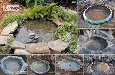 Crea un estanque con un neumático - Para crear un estanque artificial en tu jardín no necesitas invertir tanto tiempo ni dinero. Está forma de construir uno es interesante por que, además de que luce genial y es sencillo, permite en cierta forma cuidar el ambiente y  aprovechar de la reutilización de materiales como los de las llantas de los autos.
