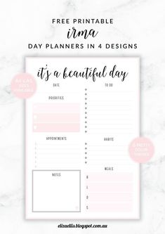 Free Printable Irma Daily Planners by Eliza Ellis - available in 6 colors.                                                                                                                                                                                 More