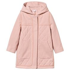 Chloe Pink Diamond Quilted Hooded Coat